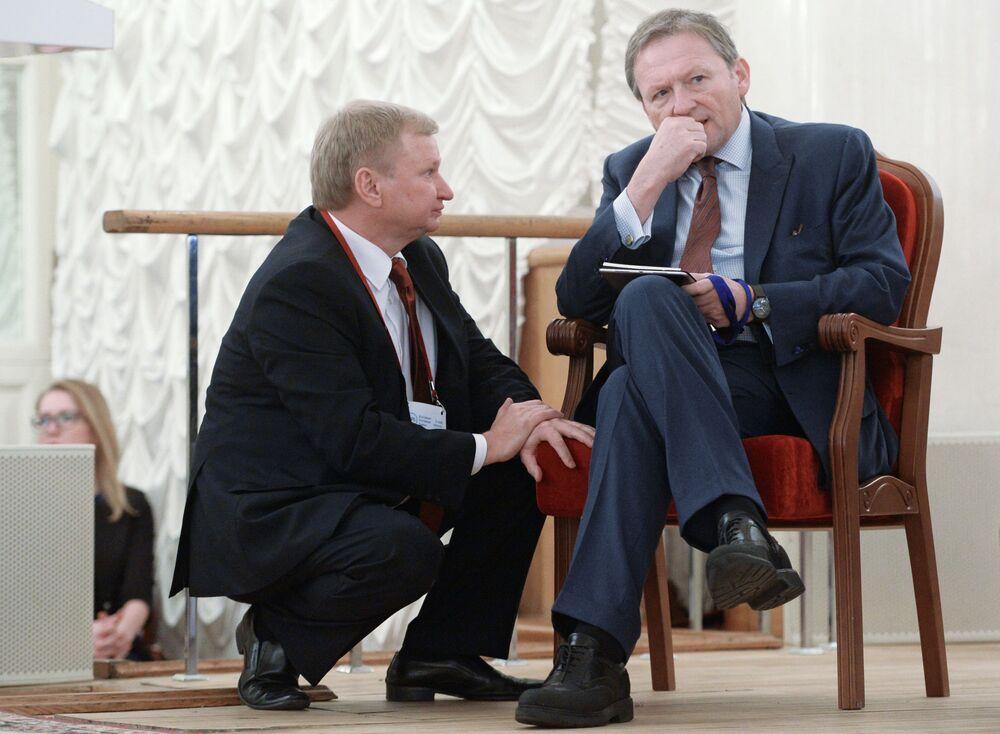 بوريس تيتوف رجل أعمال، ومرشح للانتخابات الرئاسية الروسية لعام 2018، خلال مؤتمر رابطة البنوك الروسية قي قاعة كولونايا لمجلس النقابات بموسكو