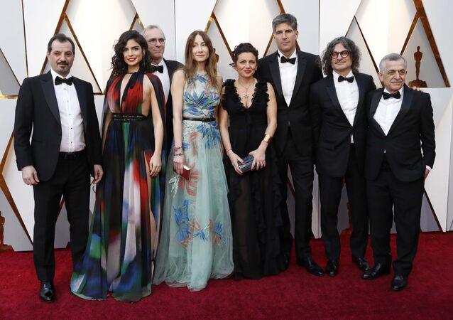 فريق عمل الفيلم اللبناني قضية 23 في حفل توزيع جوائز الأوسكار الـ 90 في 4 مارس/آذار 2018