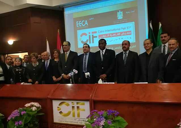 وزير الصناعة المصري طارق قابيل يتحدث عن معرض القاهرة الدولي في 12 مارس / آذار 2018