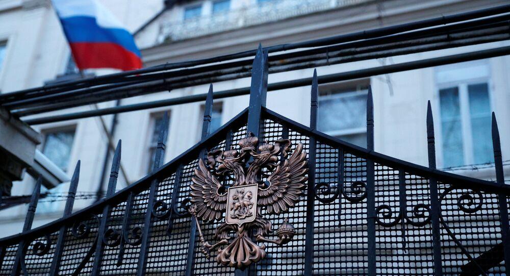 مبنى السفارة الروسية في لندن، بريطانيا 14 مارس/ آذار 2018