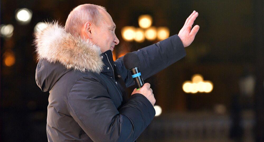 بوتين يلقي خطابا في وسط موسكو أثناء حفلة روسي. سيفاستوبول. القرم، 19 مارس/آذار 2018