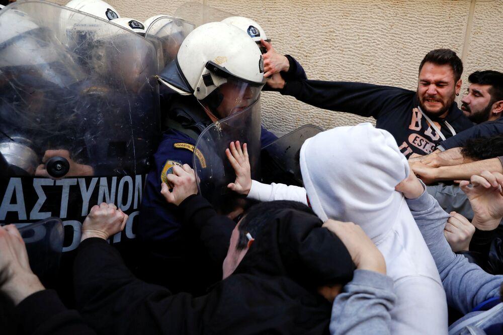 احتجاجات في أثينا، اليونان 21 مارس/ آذار 2018