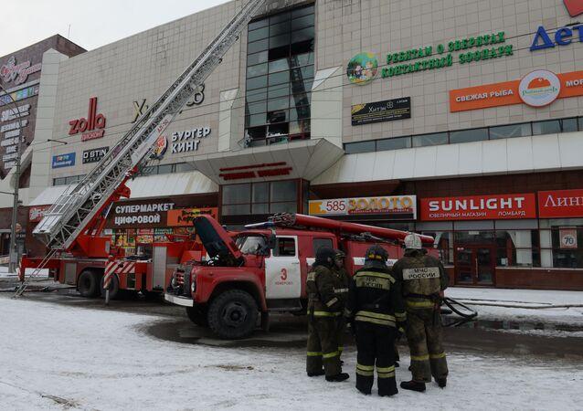 موقع اندلاع الحريق في المركز التجاري في كيميروفو، 26 مارس/ آذار 2018
