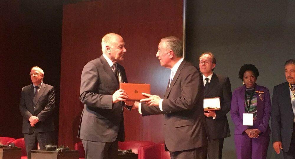 أحمد أبو الغيط مع رئيس البرتغال