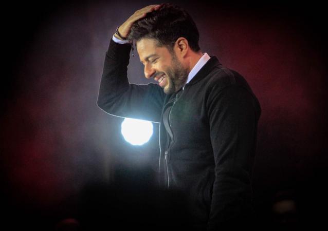 المطرب المصري محمد حماقي في حفله الأول في المملكة العربية السعودية الذي أقيم في مدينة الملك عبد الله الاقتصادية في جدة الخميس 5 نيسان/أبريل 2018