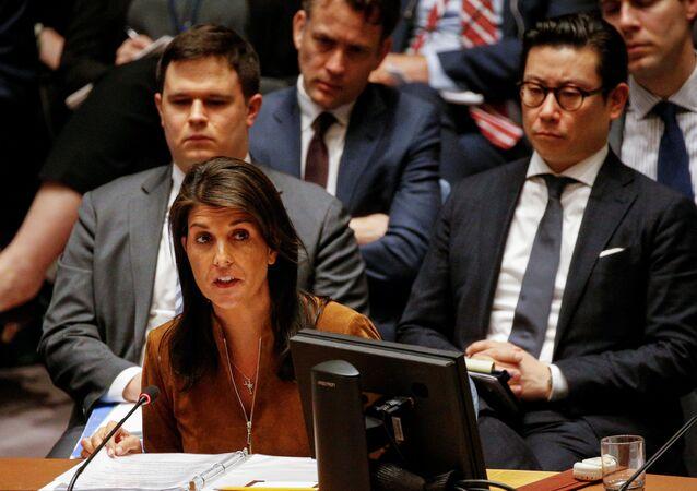 الممثلة الدائمة للولايات المتحدة لدى الأمم المتحدة نيكي هايلي في مجلس الأمن، نيويورك، الولايات المتحدة 9  أبريل/ نيسان 2018
