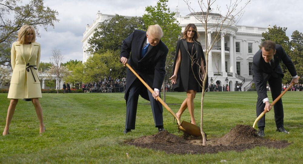 الرئيس الأمريكي دونالد ترامب بمشاركة الرئيس الفرنسي إيمانويل ماكرون بزراعة شجيرة البلوط