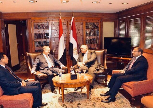 وزير الخارجية المصري سامح شكري مع نظيره اليمني عبد الملك المخلافي