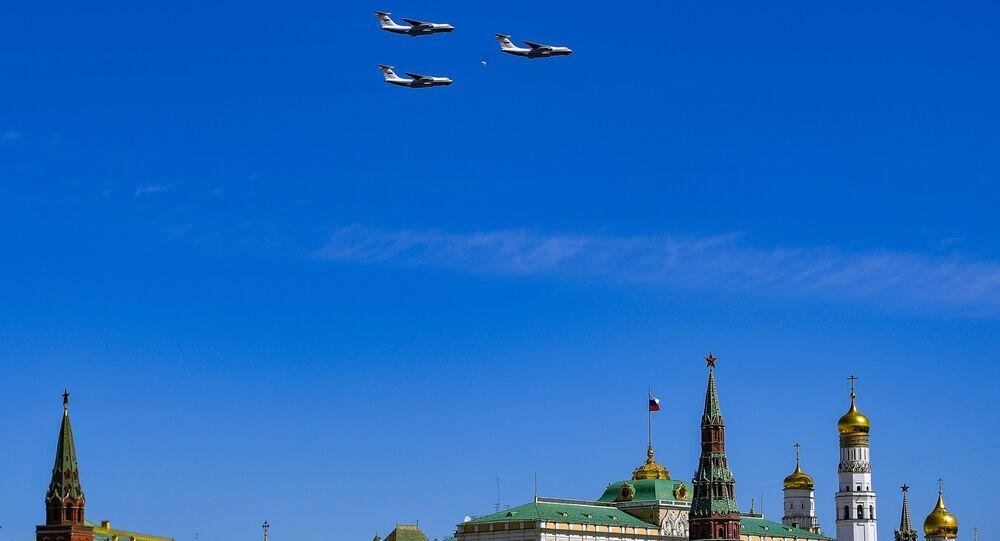عرض عسكري جوي  بمناسبة الذكرى الـ 73 لعيد النصر على قوات ألمانيا النازية  في الحرب الوطنية العظمى (1941 - 1945) في موسكو، 9 مايو/ أيار 2018