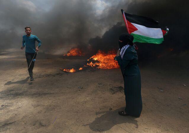 احتجاجات تعم البلاد ضد نقل السفارة الأمريكية إلى القدس، شرق غزة، قطاع غزة، فلسطين 14 مايو/ أيار 2018
