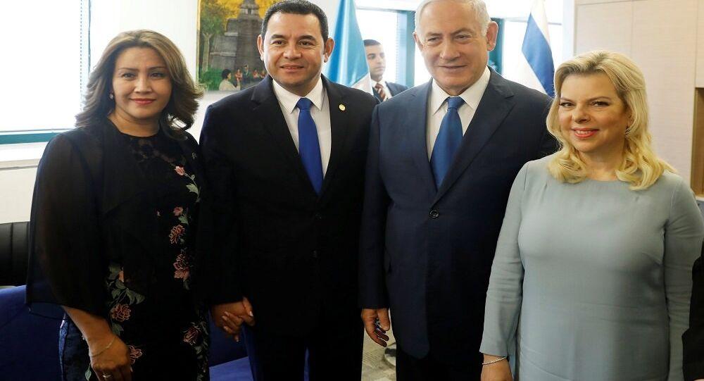 رئيس غواتيمالا جيمي موراليس ورئيس الوزراء الإسرائيلي بنيامين نتنياهو