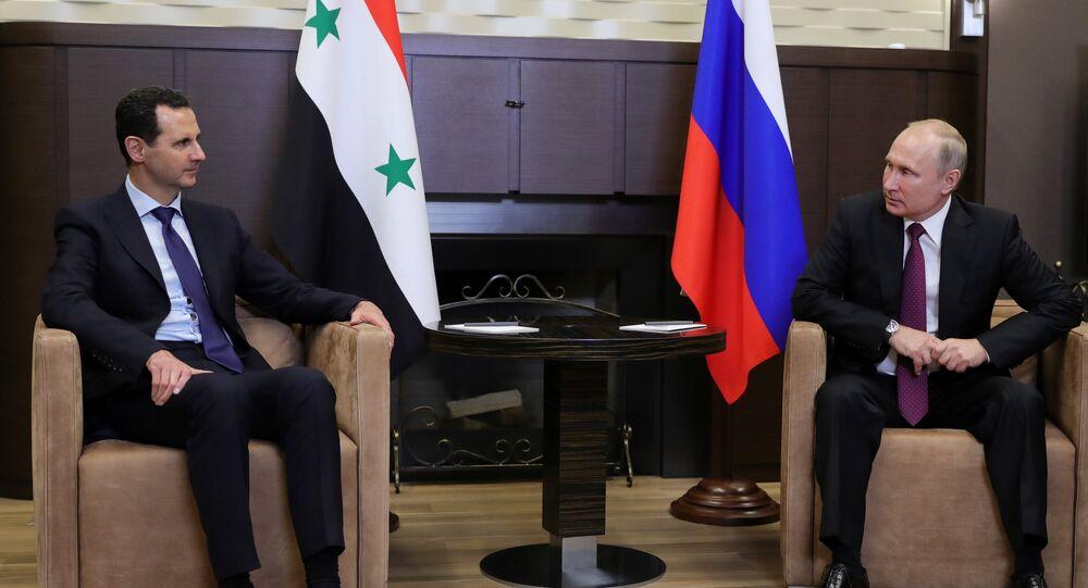 الرئيسان بوتين والأسد في لقاء سوتشي