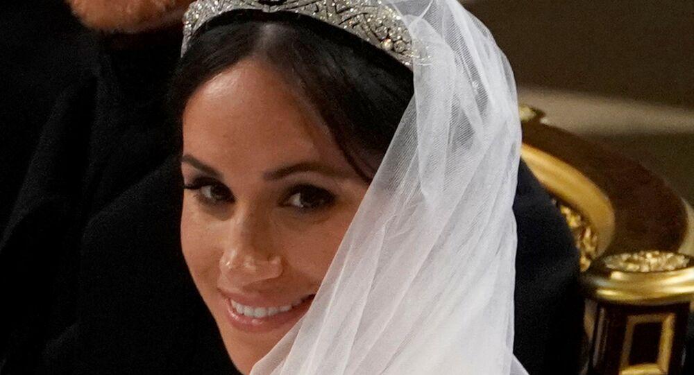 ميغان ماركل في حفل زفافها على نجل ولي عهد بريطانيا الأمير هاري، 19 مايو/أيار 2018