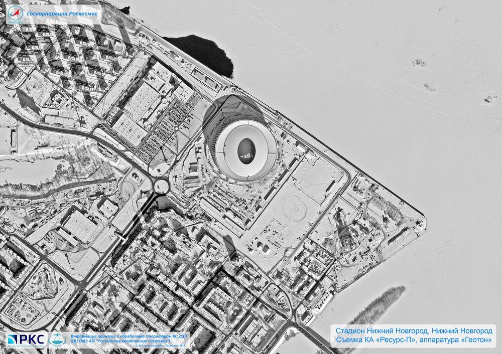 ملعب نيجني نوفغورد أحد ملاعب كأس العالم 2018 من المركبة الفضائية الروسية  Resurs-P