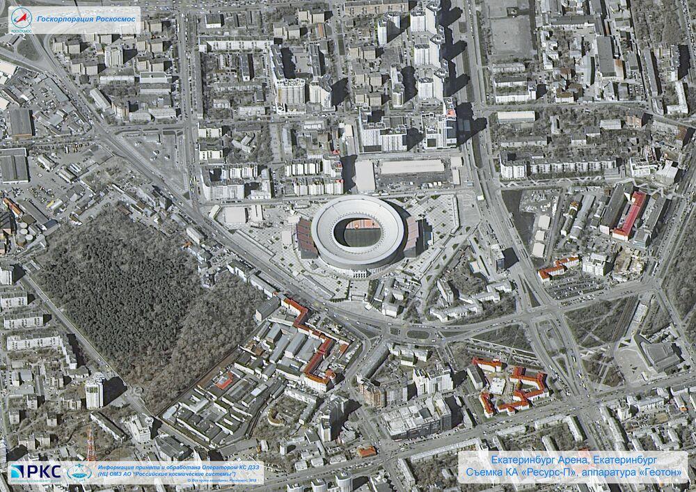 ملعب يكاترينبورغ أرينا أحد ملاعب كأس العالم 2018 من المركبة الفضائية الروسية  Resurs-P