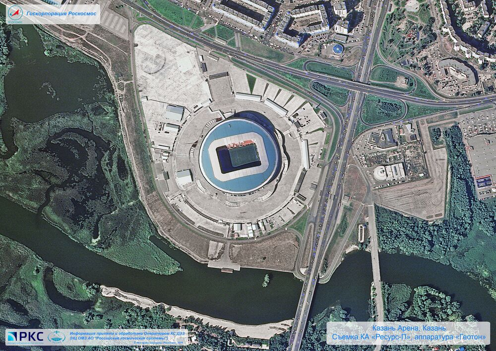 ملعب سبارتاك أحد ملاعب كأس العالم 2018 من المركبة الفضائية الروسية  Resurs-P