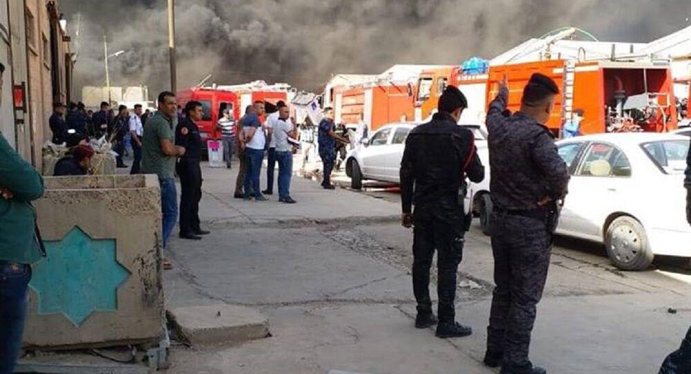 اندلاع النيران في مخزن لصناديق الاقتراع في بغداد