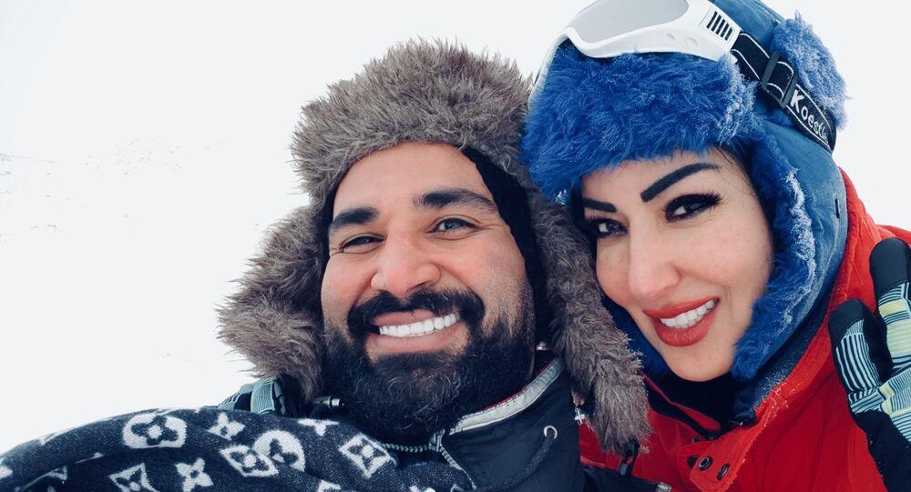 الممثلة المصرية سمية الخشاب مع زوجها المطرب المصري أحمد سعد