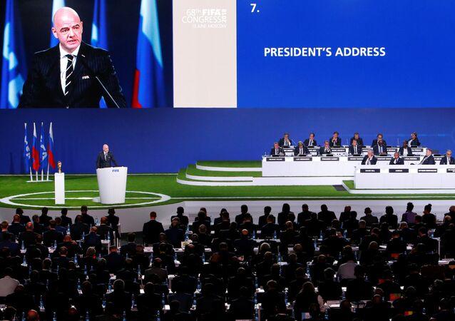 رئيس الفيفا يلقى كلمة أمام الاجتماع الـ68 للفيفا