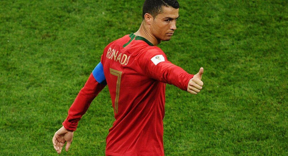 كرستيانو رونالدو في المباراة التي جمعت منتخب إسبانيا والمنتخب البرتغالي في بطولة كأس العالم 2018 في روسيا