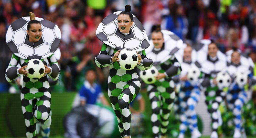 فرقة الرقص صداقة الشعوب خلال مراسم الحفل الافتتاحي لبطولة كأس العالم لكرة القدم روسيا - 2018 بملعب لوجنيكي في موسكو، 2018