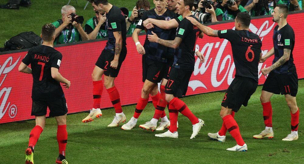 احتفال لاعبي كرواتيا بهدف التعادل