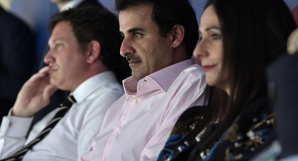 أمير قطر الشيخ تميم بن حمد الثاني، خلال مباراة نهائي كأس العالم 2018 في ملعب لوجنيكي في موسكو
