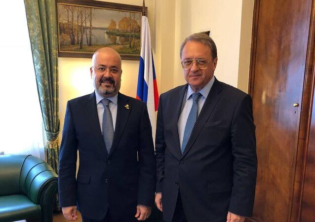 السفير العراقي في روسيا حيدر منصور هادي العذاري والمبعوث الخاص للرئيس الروسي للشرق الأوسط وشمال أفريقيا ميخائيل بوغدانوف