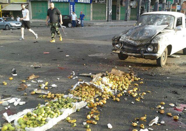 آثار الانفجار الانتحاري في السويداء في سوريا يوم 25 تموز/يوليو