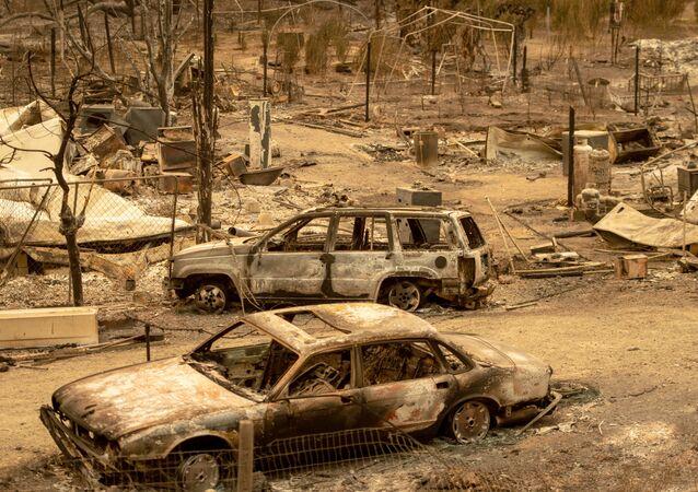 آثار ناجمة عن حريق هائل في كاليفورنيا، الولايات المتحدة 7 أغسطس/ آب 2018