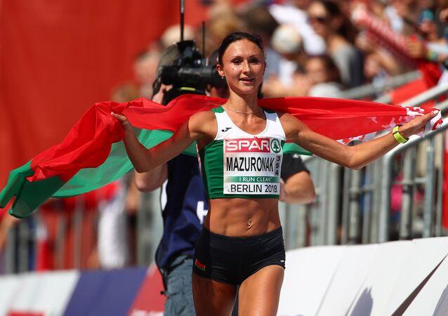 المتسابقة من بيلاروسيا فولها مازوروناك في ماراثون في بطولة أوروبا لألعاب القوى، 12 أغسطس/آب 2018