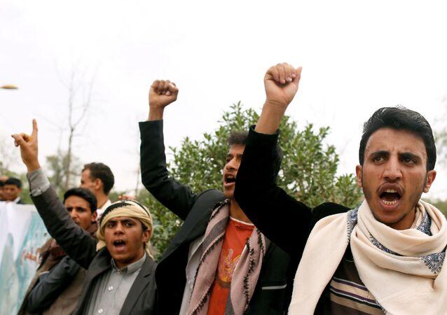 مظاهرة الحوثيين ضد ضربات التحالف العربي بقيادة السعودية في صنعاء، اليمن 11 أغسطس/ آب 2018