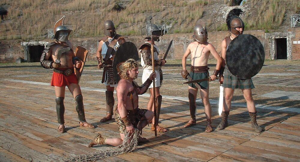 مدرسة غلادياتور (المصارعين الرومان) في روما، إيطاليا