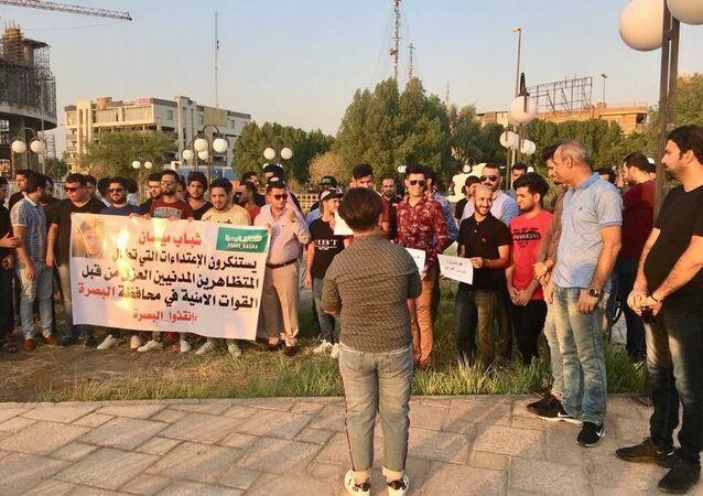 احتجاج ضد القمع الدامي للتظاهرات في جنوب العراق