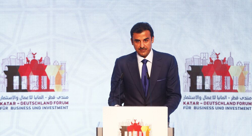 أمير قطر الشيخ تميم بن حمد آل ثاني في مؤتمر الاستثمار الألماني القطري في العاصمة الألمانية برلين، 7 سبتمبر/أيلول 2018