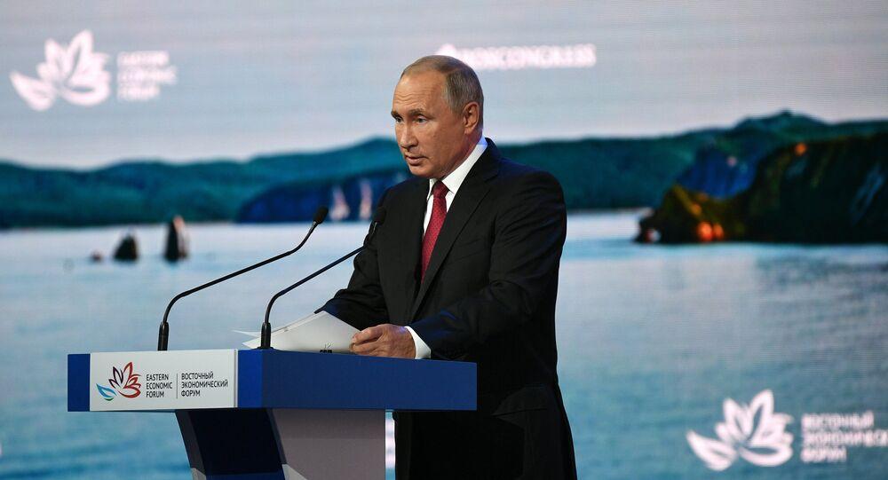 الرئيس الروسي فلاديمير بوتين خلال المنتدى الاقتصادي الشرقي