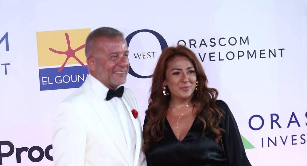 الممثل المصري شريف منير وزوجته في افتتاح مهرجان الجونة السينمائي الثاني، 20 سبتمبر/أيلول 2018