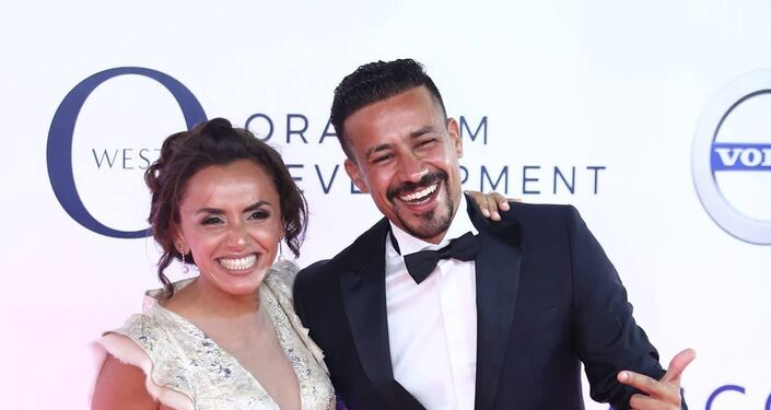 الممثل المصري أحمد داوود وزوجته الممثلة علا رشدي في افتتاح مهرجان الجونة السينمائي الثاني، 20 سبتمبر/أيلول 2018