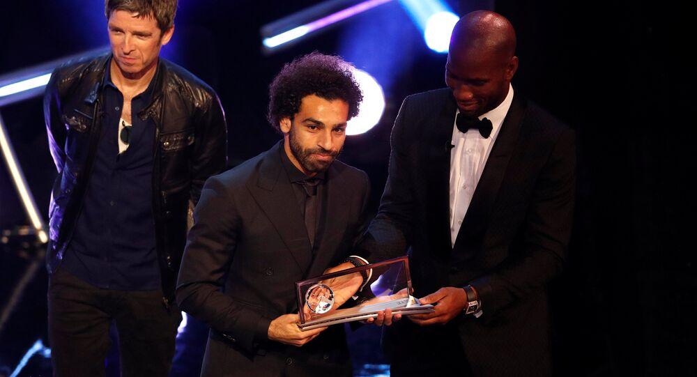 اللاعب المصري محمد صلاح بعد فوزه بجائزة بوشكاش لأفضل هدف في حفل جوائز الأفضل، 24 سبتمبر/أيلول 2018
