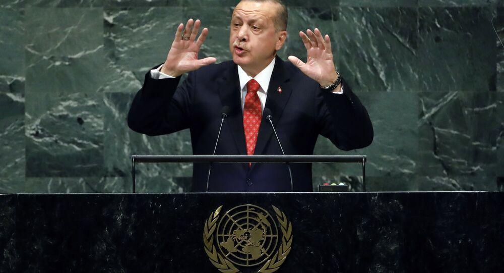 الرئيس التركي رجب طيب أردوغان أثناء الخطاب أمام جمعية الأمم المتحدة، نيويورك 25 سبتمبر/ أيلول 2018