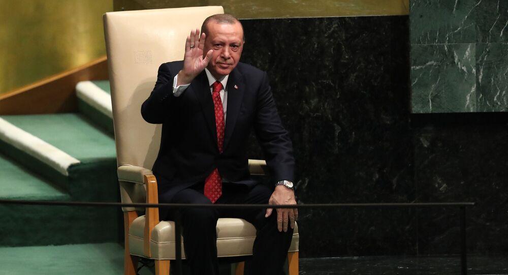 الرئيس التركي رجب طيب أردوغان أمام جمعية الأمم المتحدة، نيويورك 25 سبتمبر/ أيلول 2018