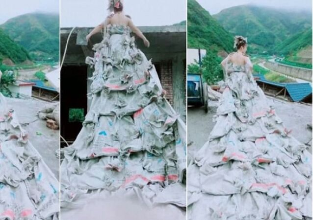 عروس تحيك ثوب زفافها من 40 كيسا من الإسمنت