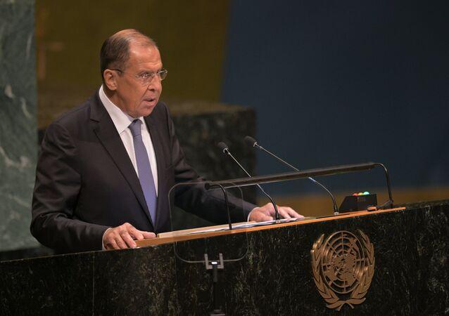 وزير الخارجية الروسي سيرغي لافروف خلال كلمته أمام الجمعية العامة للأمم المتحدة