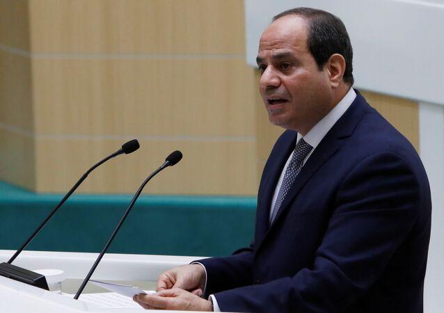الرئيس المصري عبدالفتاح السيسي يلقي خطابا أما المجلس الفدرالي، في الدوما الروسية، في موسكو، 16 أكتوبر/ تشرين الأول 2018