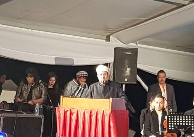 وزير الأوقاف المصري محمد مختار جمعة خلال كلمته في منتدى السلام العالمي في سانت كاترين في مصر، 18 أكتوبر/تشرين الأول 2018