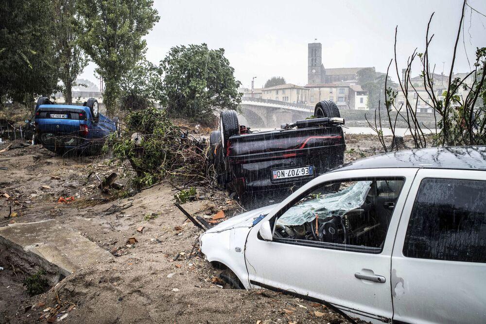 تداعيات الفياضانات في بلدة تريب،  فرنسا 16 أكتوبر/ تشرين الأول 2018