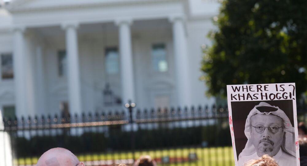 تظاهرة أمام البيت الأبيض تطالب بفرض عقوبات فورية على السعودية بسبب الصحفي جمال خاشقجي