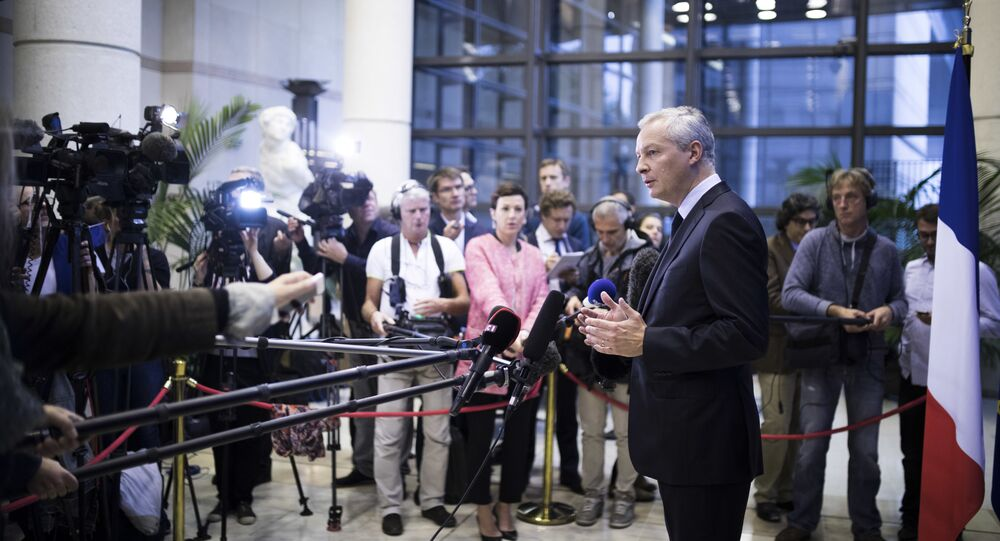 French Economy Minister Bruno Le Maire gives a press conference at Bercy Economy ministry in Paris (File)