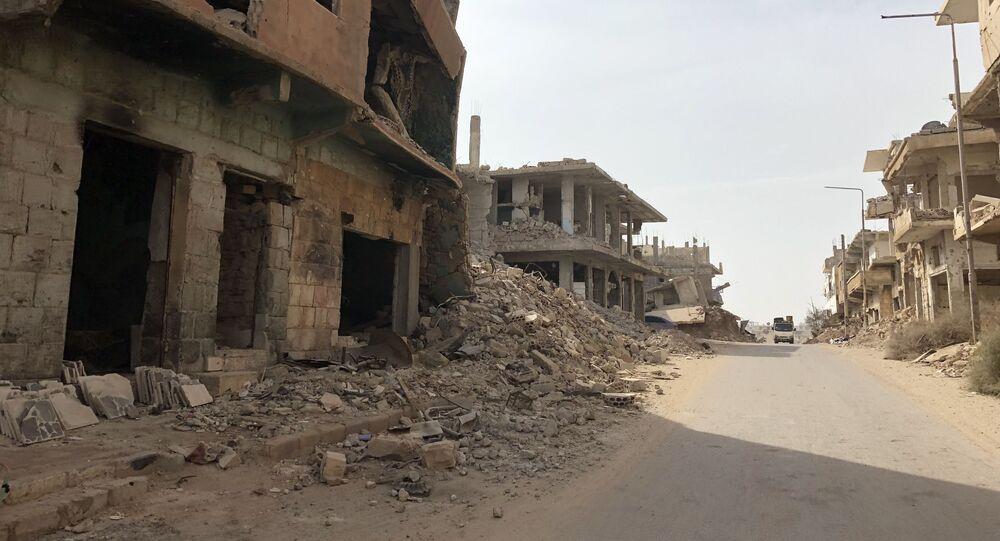 ركام درعا البلد في محافظة درعا، سوريا