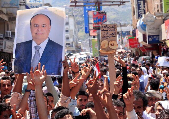 لافتة للرئيس عبد ربه منصور هادي، 4 أكتوبر/ تشرين الأول 2018